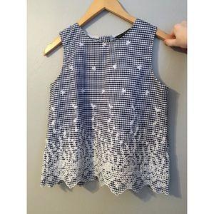 Blue & white checkered blouse